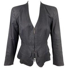 GIORGIO ARMANI Size 6 Slate Silk / Linen Zip Up Jacket