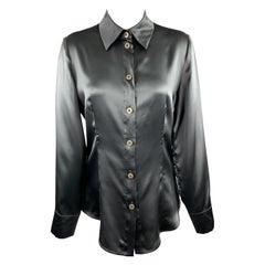 GIORGIO ARMANI Size 8 Charcoal Silk Satin Blouse