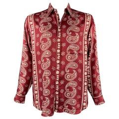 GIORGIO ARMANI Size L Burgundy & White Paisley Silk Button Up Long Sleeve Shirt