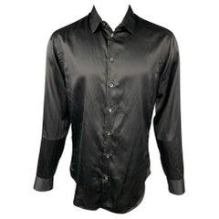 GIORGIO ARMANI Size M Black Silk / Cotton Button Up Long Sleeve Shirt