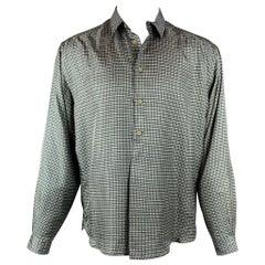 GIORGIO ARMANI Size M Green & Beige Plaid Silk Button Up Long Sleeve Shirt