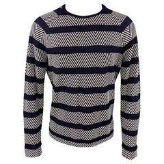 GIORGIO ARMANI Size M Navy & White Textured Viscose Blend Raglan Pullover