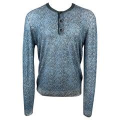 GIORGIO ARMANI Size XXL Blue & Charcoal Print Polyamide Henley Pullover