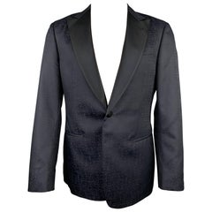 GIORGIO ARMANI Soft Size 38 Black Marbled Wool / Silk Peak Lapel Sport Coat