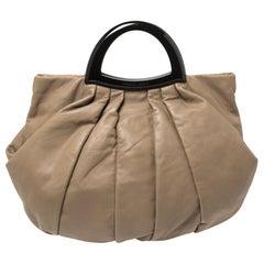 Giorgio Armani Taupe Leather Pleated Top Handle Bag