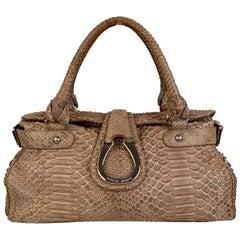 Giorgio Armani Taupe Reptile Leather Top Handles Bag Satchel