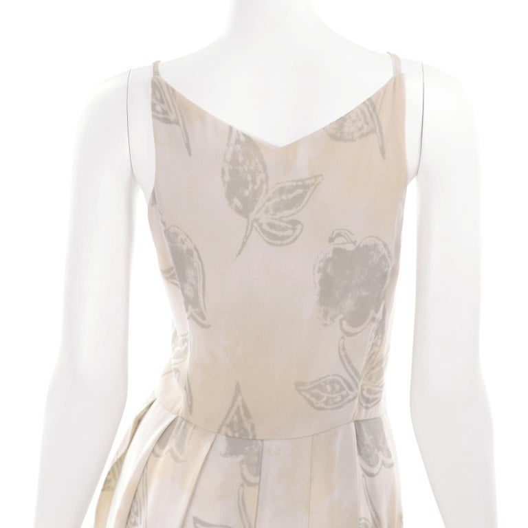 Giorgio Armani Vintage 1990s Cream Khaki Sage Green Leaf Print Summer Dress For Sale 6