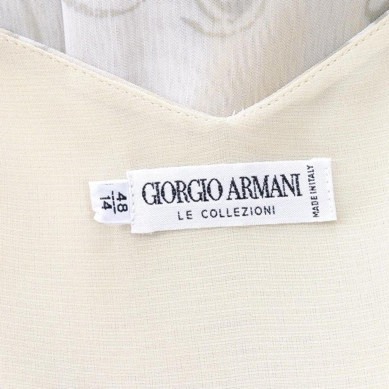Giorgio Armani Vintage 1990s Cream Khaki Sage Green Leaf Print Summer Dress For Sale 7