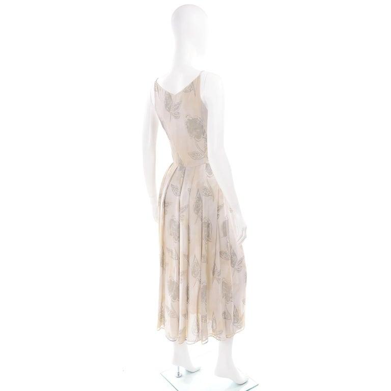 Women's Giorgio Armani Vintage 1990s Cream Khaki Sage Green Leaf Print Summer Dress For Sale