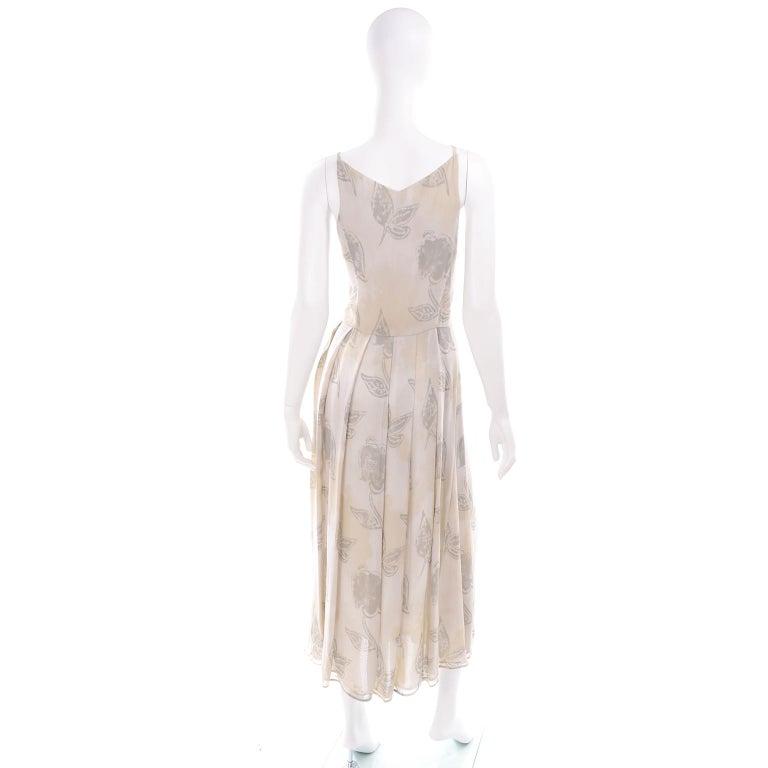 Giorgio Armani Vintage 1990s Cream Khaki Sage Green Leaf Print Summer Dress For Sale 1