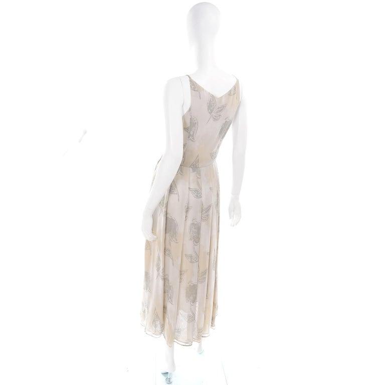 Giorgio Armani Vintage 1990s Cream Khaki Sage Green Leaf Print Summer Dress For Sale 2