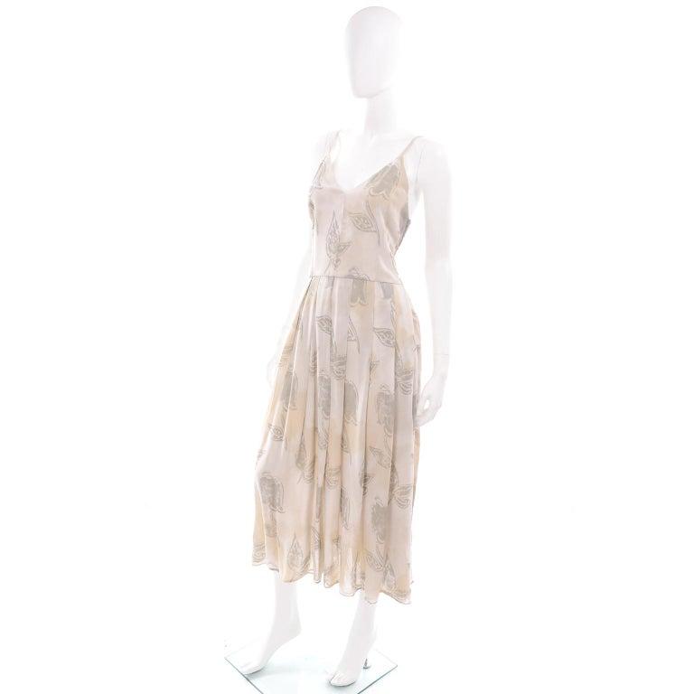 Giorgio Armani Vintage 1990s Cream Khaki Sage Green Leaf Print Summer Dress For Sale 3