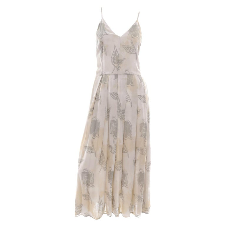 Giorgio Armani Vintage 1990s Cream Khaki Sage Green Leaf Print Summer Dress For Sale