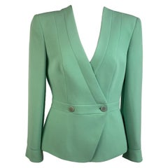 Giorgio Armani Vintage Green Silk Double Breasted Blazer Size 38