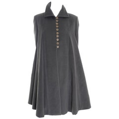 Giorgio Armani Vintage Swing Coat in Gray Cashmere Wool Angora Vestimenta Spa