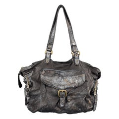 GIORGIO BRATO Distressed Gunmetal Metallic Leather Satchel Handbag