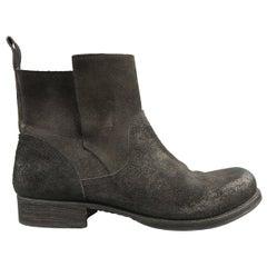 GIORGIO BRATO Size 11 Black Distressed Textured Suede Ankle Boots