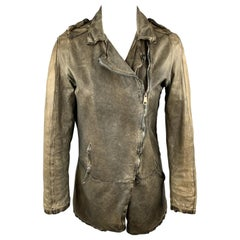 GIORGIO BRATO Size 4 Distressed Olive Green Leather Biker Jacket