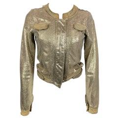 GIORGIO BRATO Size 4 Taupe Metallic Leather Zip Up Jacket