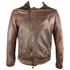 GIORGIO BRATO Size 40 Brown Wrinkled Leather Zip Up Jacket