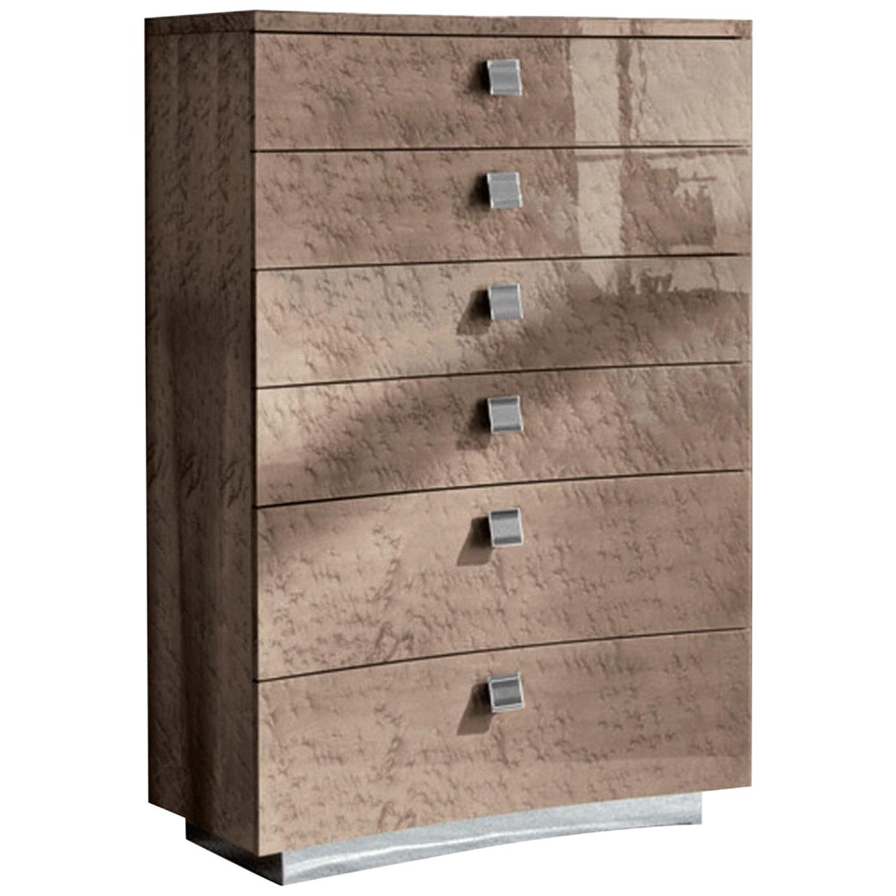 Giorgio USA Collection Bird's-Eye Maple Chest of Drawers in High Gloss Finish