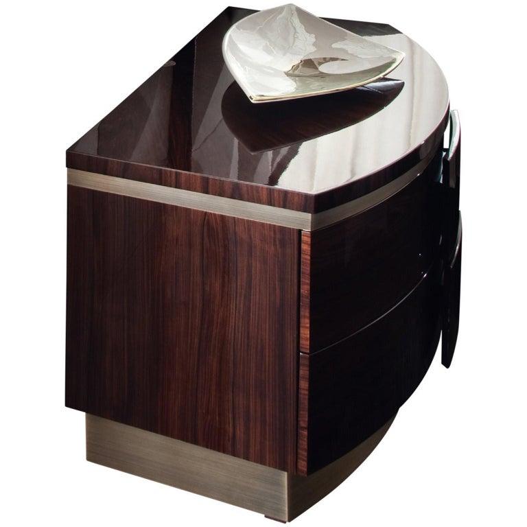 Italian Giorgio Collection Brazilian Rosewood Night Table in High Gloss Finish For Sale