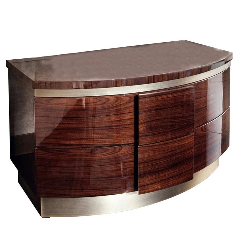 Giorgio Collection Brazilian Rosewood Night Table in High Gloss Finish For Sale