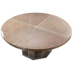 Giorgio Collection Champagne Color Bird's-Eye Maple Dining Table in High Gloss