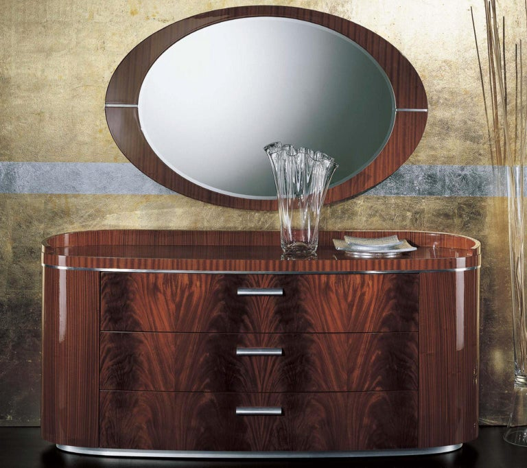 Giorgio USA Collection Crotch Mahogany Dresser High Gloss Finish Brass Accents In New Condition For Sale In New York, NY