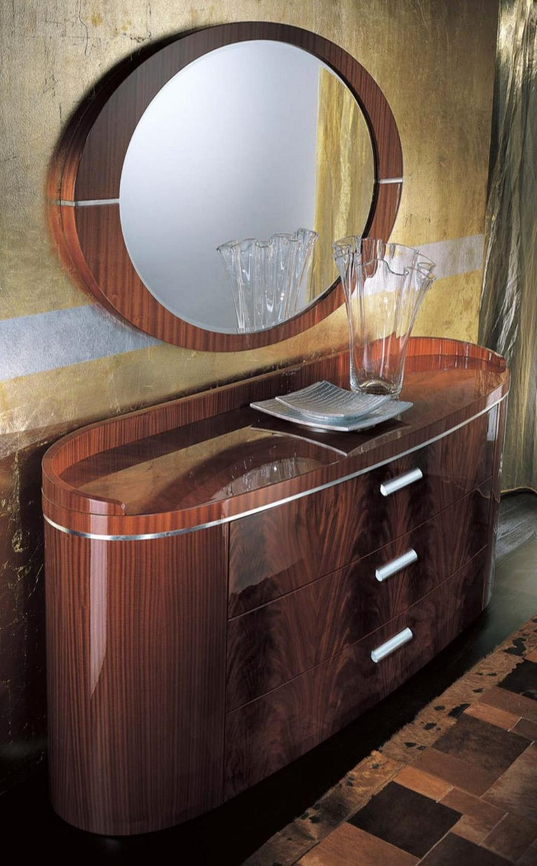 Contemporary Giorgio USA Collection Crotch Mahogany Dresser High Gloss Finish Brass Accents For Sale