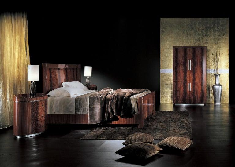 Art Deco Giorgio Collection Crotch Mahogany High Gloss Night Table For Sale