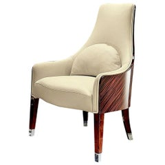 Giorgio Collection Curve Back Ebony Macassar Occasional Chair in Beige Leather