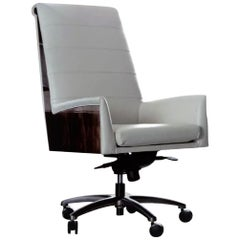 Giorgio Collection Ebony Macassar Wood and Leather Presidential Office Chair