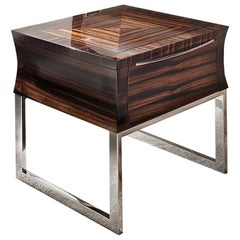 Giorgio Collection Ebony Makassar End Table in Glossy Finish