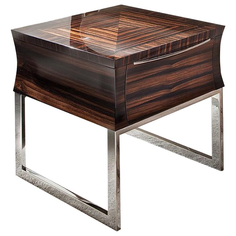 Giorgio Collection Ebony Makassar End Table in Glossy Finish  For Sale