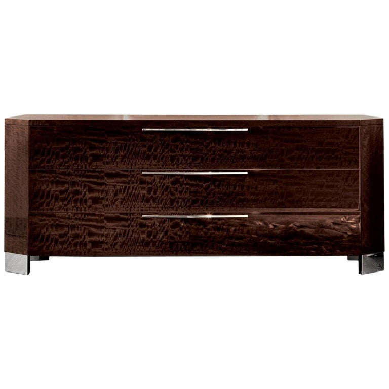 Giorgio Collection European Curly Eucalyptus Dresser in High Gloss Finish For Sale