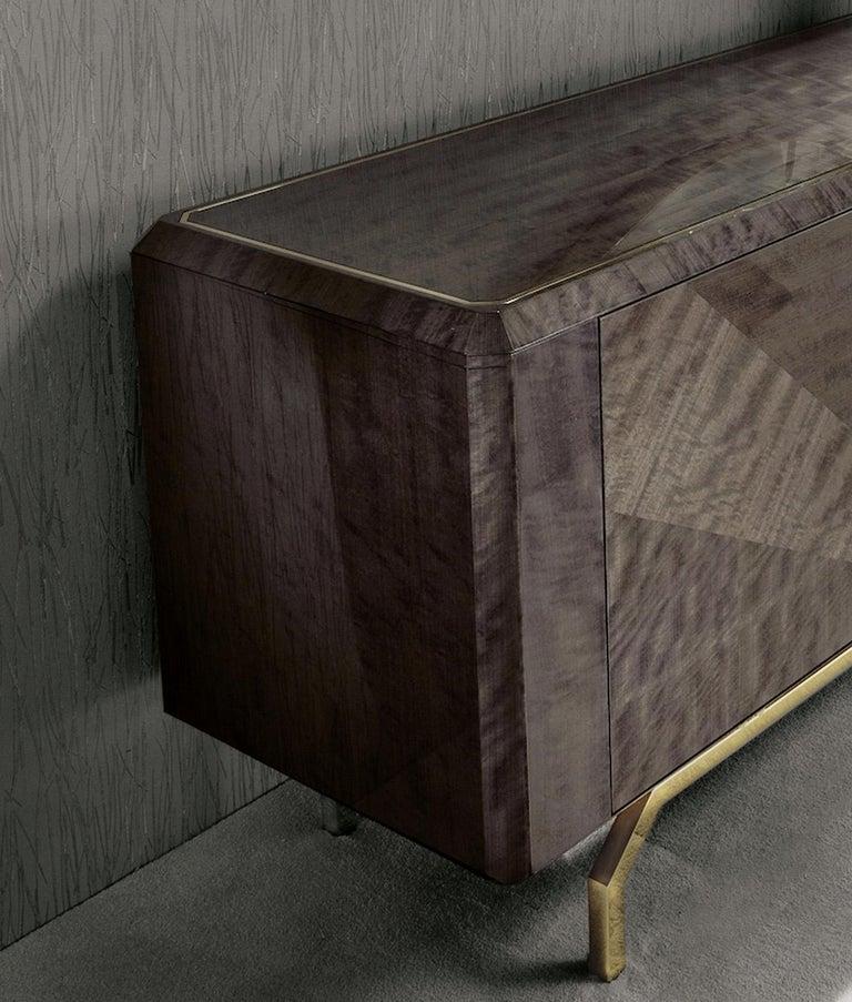 Art Deco Giorgio Collection 'Infinity' Italian Makore Mahogany Buffet Sideboard For Sale