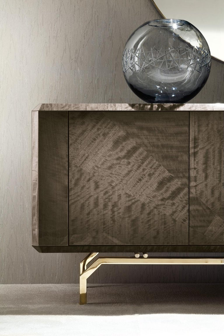 Hand-Crafted Giorgio Collection 'Infinity' Italian Makore Mahogany Buffet Sideboard For Sale