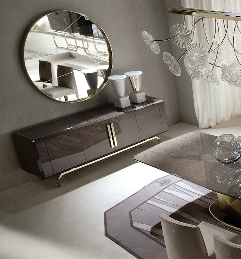 Giorgio Collection 'Infinity' Italian Makore Mahogany Buffet Sideboard In New Condition For Sale In New York, NY
