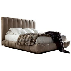 Giorgio USA Collection Italian Upholstered King Size Bed with Bronzed Brass Base