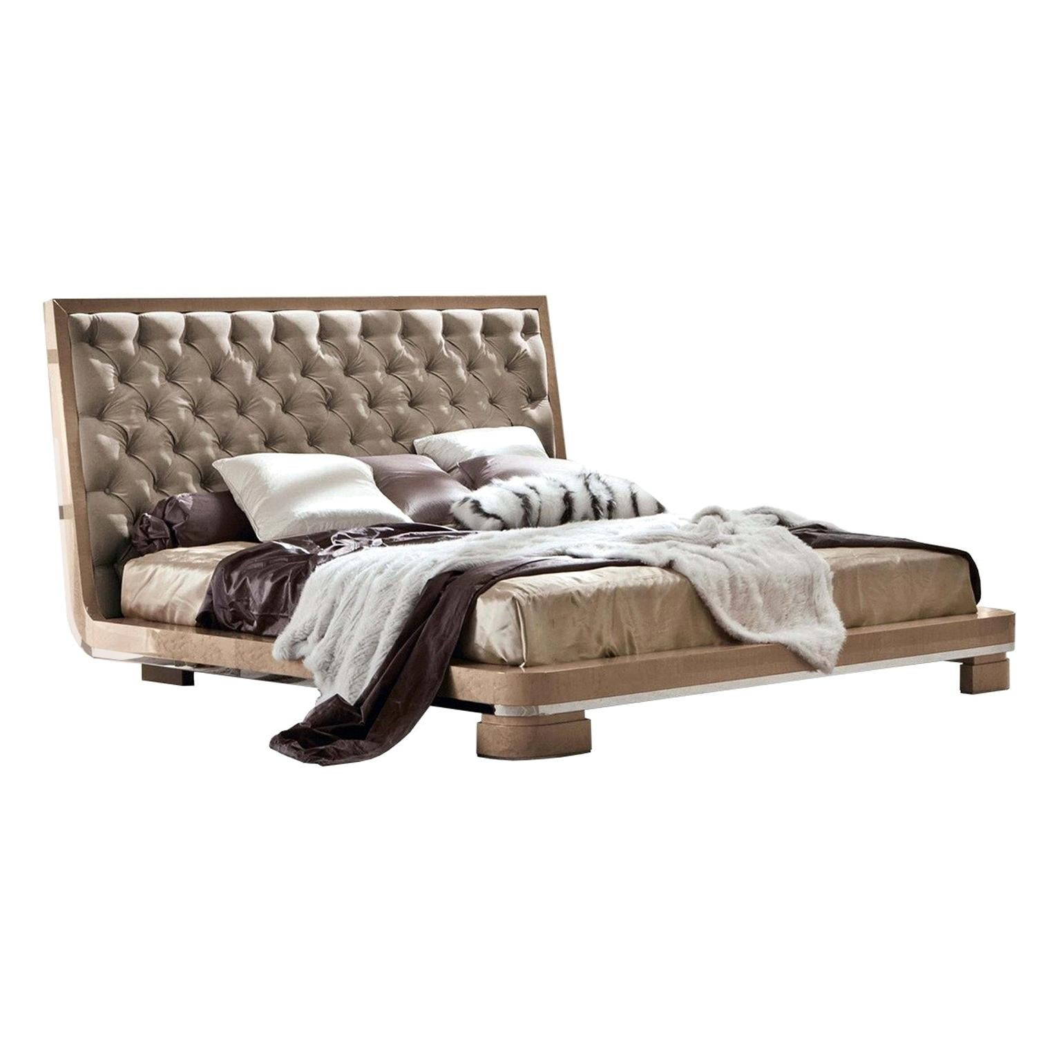 Giorgio Collection Leather Headboard King Bed Bird Eye Maple Wood Glossy Finish