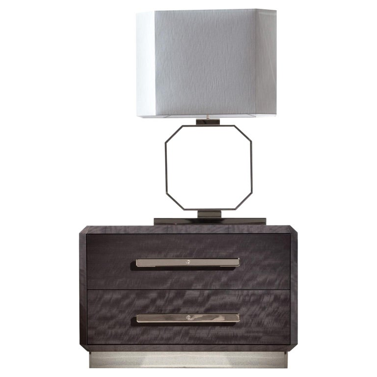 Night table in makorè mahogany veneer with high gloss polyester finish. Inlaid veneer top. 2 full extension drawers with bottom part in velvet fabric. Base and handles in light gold chrome stainless steel with Giorgio collection logo. Size: cm