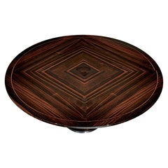Giorgio Collection Round Dining Table Ebony Macassar in High Gloss Finish