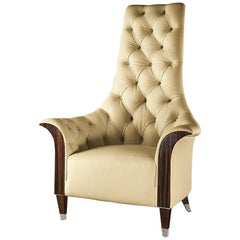 Giorgio Collection Tufted Big Armchair in Beige Leather with Ebony Macassar Arm