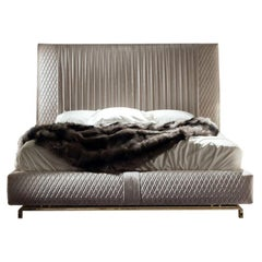 'Giorgio Collection' Upholstered King Size Bed Pleated Quilted Velvet Headboard