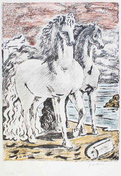 Ancient Horses - Original Lithograph by Giorgio De Chirico