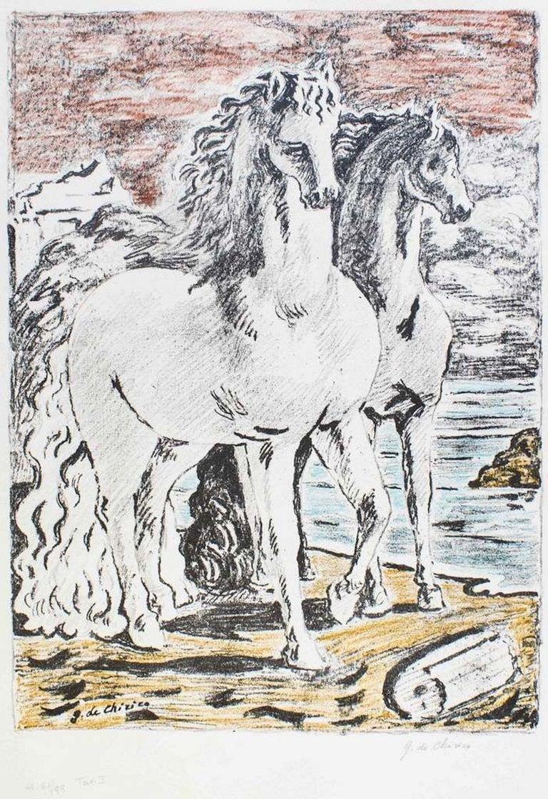 """From the Suite: """"Sei litografie""""  Hand signed  Edition of 99 copies (61/99)  Ref: Published in the General Catalogue """"G. de Chirico: Catalogo dell'Opera Grafica 1921-1969"""", by Alfonso Ciranna, Edizione La Medusa, Roma, 1969, N. 132."""
