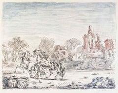 Cavalli e Rovine (Horses and Ruins) - Original Lithograph by Giorgio De Chirico
