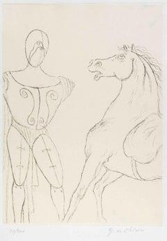 Cavallo e Trovatore - Original Etching by Giorgio De Chirico - 1969