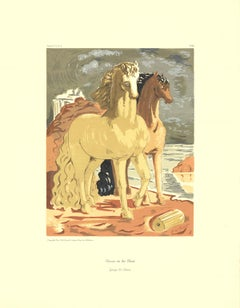 "Giorgio de Chirico-Horses on the Shore-26"" x 20""-Serigraph-Surrealism-Brown"